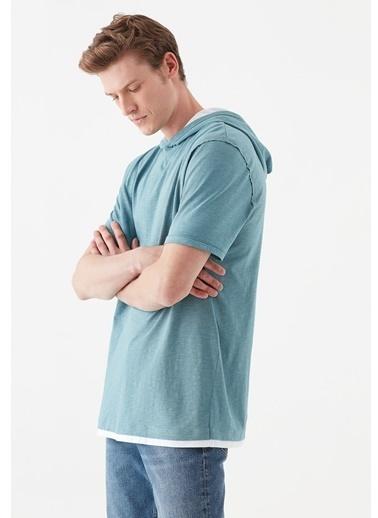 Mavi Kısa Kollu Kapüşonlu Tişört Mavi